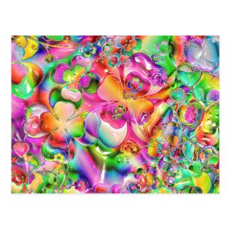 抽象芸術歪んだ色の花 ポストカード