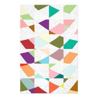 抽象芸術色のダマスク織 便箋