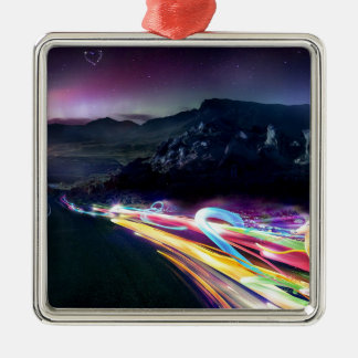抽象芸術色のNorthern Lightsの道 メタルオーナメント