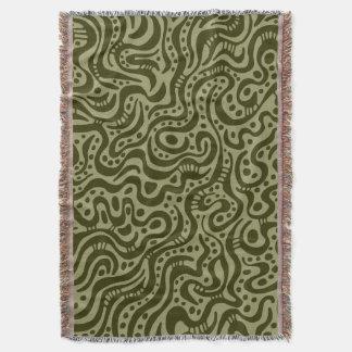 抽象芸術041211 -カーキ色の暗いオリーブ スローブランケット