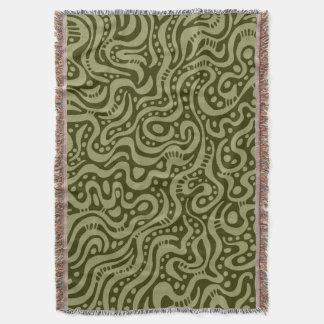 抽象芸術041211 -暗いオリーブでカーキ色 スローブランケット