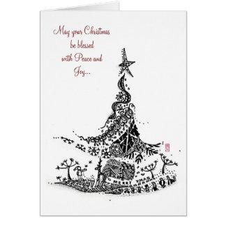 抽象芸術: クリスマスツリー カード
