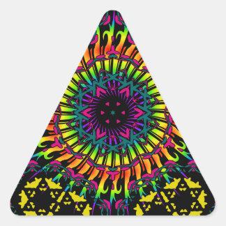抽象芸術/サイケデリックな螺線形渦 三角形シール