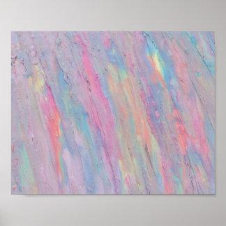 抽象芸術、パステル、手塗り虹オリジナル ポスター
