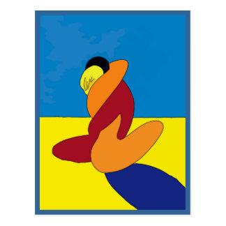 抽象芸術、ビーチのカップル ポストカード