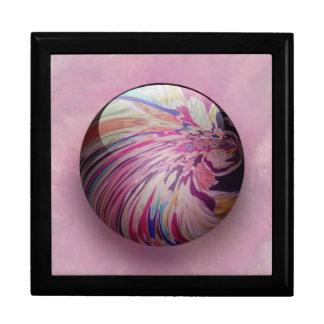 抽象芸術、多彩な渦巻およびストライプな光沢がある大理石 ギフトボックス