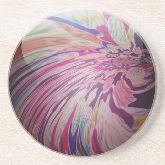 抽象芸術、多彩な渦巻およびストライプな光沢がある大理石 コースター