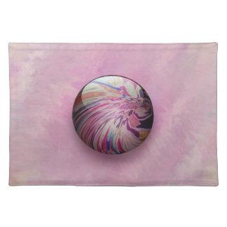 抽象芸術、多彩な渦巻およびストライプな光沢がある大理石 ランチョンマット