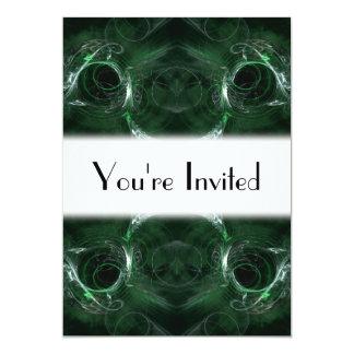 抽象芸術、深緑色のフラクタルパターン カード