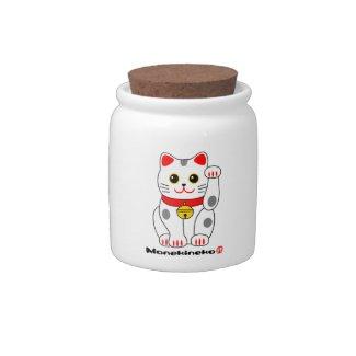 招き猫の(の白黒の)、Manekineko B&W (猫を招いている幸運な猫) キャンディージャー