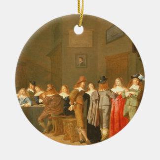 招く場面1644年(キャンバスの油) セラミックオーナメント