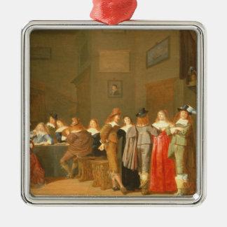 招く場面1644年(キャンバスの油) メタルオーナメント