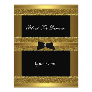招待のエレガントでフォーマルな準正装の金ゴールドの黒 カード