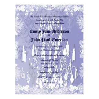 招待のヴィンテージのシャンデリアのピンクのラベンダーの結婚 ポストカード