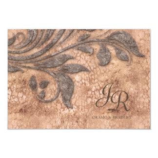 招待の葉のヴィンテージのヒョウののどのスエードの結婚 カード