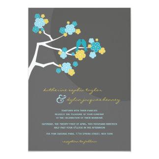 招待を結婚している青い桜愛鳥 カード