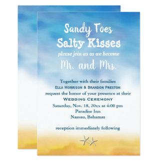 招待を結婚する水彩画のサンディのつま先-空及び砂 カード