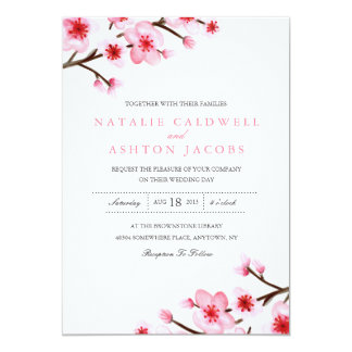 招待を結婚する色彩の鮮やかな桜 カード