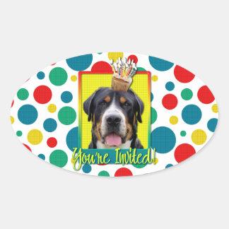 招待状のカップケーキ-より素晴らしいスイス山犬 楕円形シール