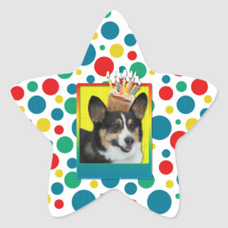 招待状のカップケーキ-コーギー 星形シールステッカー