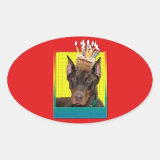 招待状のカップケーキ-ドーベルマン犬-赤岩が多い 楕円形シール