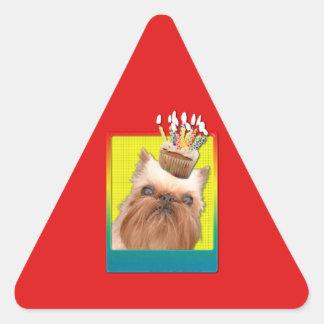 招待状のカップケーキ-ブリュッセルGriffon 三角形シール