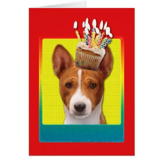 招待状のカップケーキ- Basenji カード