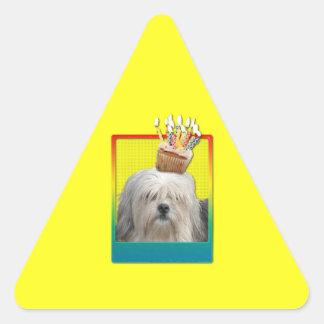 招待状のカップケーキ- Lowchen 三角形シール