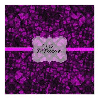 招待状のフラクタルの芸術の黒およびピンク カード
