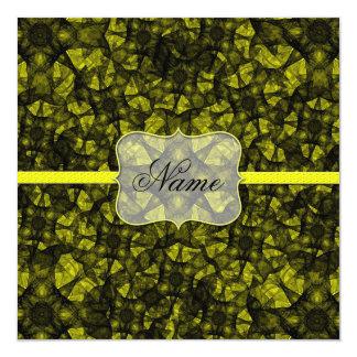 招待状のフラクタルの芸術の黒および黄色 カード