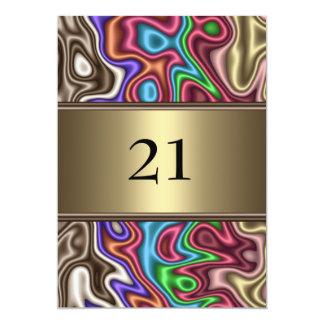 招待状の誕生日の抽象芸術色ののどの絹 カード