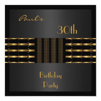 招待状メンズ第30誕生会の黒の金ゴールド カード