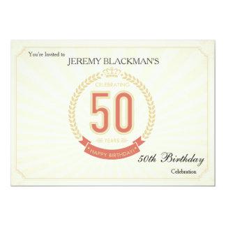 招待状50年の誕生日の祝います 12.7 X 17.8 インビテーションカード