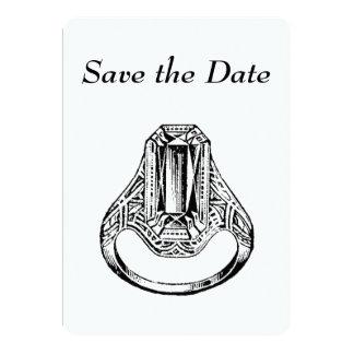 招待状-日付のヴィンテージのダイヤモンド指輪を救って下さい カード