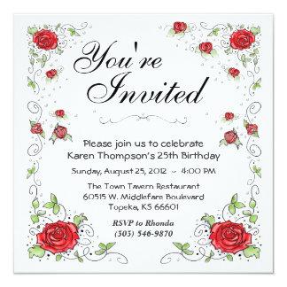 招待状-赤いバラ カード
