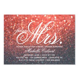 招待-赤いLitのNiteのブライダルシャワーの未来の夫人 カード