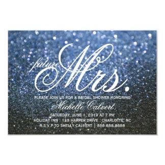 招待-青いLitのNiteのブライダルシャワーの未来の夫人 カード