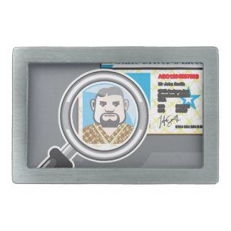 拡大鏡の下の運転免許証 長方形ベルトバックル