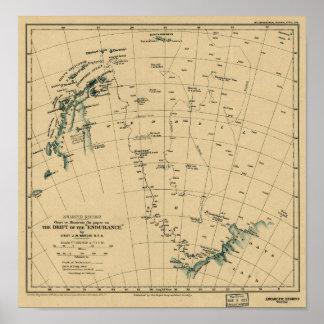 """持久力"""" 1918の地図のAntartic地域""""漂流 ポスター"""