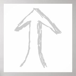 指す矢。 白の灰色 ポスター