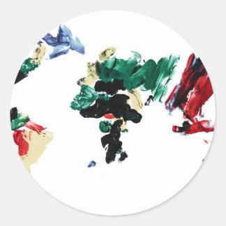 指のペンキの世界地図 ラウンドシール