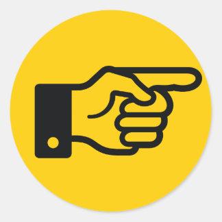指の(黄色い)ステッカーを指すこと ラウンドシール