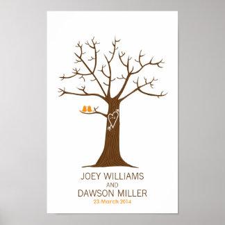 指紋の木の結婚式(白い) ポスター