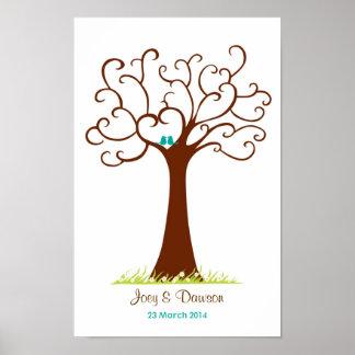 指紋の木の結婚式- Heartastic (白い) ポスター