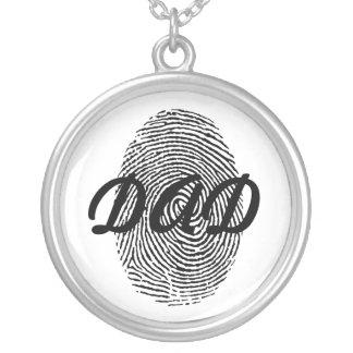 指紋の父の日の記念品のペンダント シルバープレートネックレス