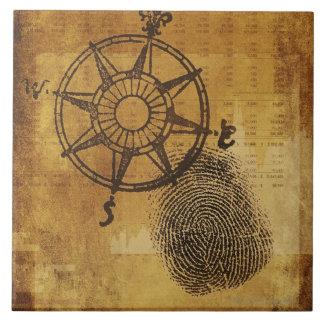 指紋を持つ旧式なコンパス面図 タイル