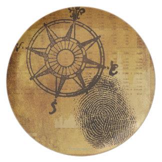 指紋を持つ旧式なコンパス面図 プレート