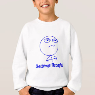 挑戦によって受け入れられる青及び白い文字 スウェットシャツ