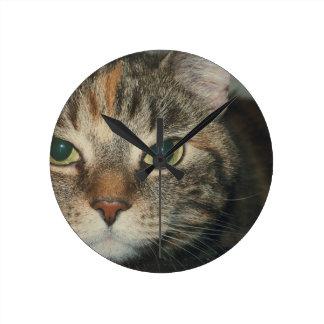 """""""挑戦""""猫を言ったら来て下さい ラウンド壁時計"""