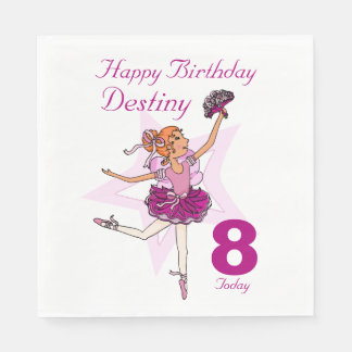 挙げられたバレリーナの女の子の第8誕生日のナプキン スタンダードランチョンナプキン